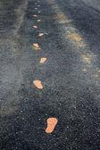 žlutá otisků na pěší cestě — Stock fotografie