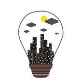 Building in the Light bulb vector icon logo, idea concept — Vector de stock