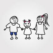 Children vector hand drawn — Stock Vector