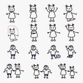 Set of child avatars — Stock Vector
