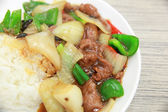 Rice with fried pork and green pepper — Stock Photo
