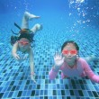 Little asian girl underwater in swimming pool — Stock Photo #49230501