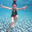 Little asian girl underwater in swimming pool — Stock Photo #49230555