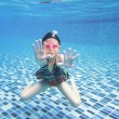 Little asian girl underwater in swimming pool — Stock Photo #49230645