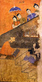 Ancient Buddhist temple mural depicting a Thai daily life scene  — Stock Photo