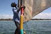 Swahili outrigger boat off Kenya Coast — Stock Photo