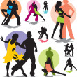 图库矢量图片: Set vector dance couple silhouettes