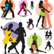 Set vector dance couple silhouettes — Stock Vector