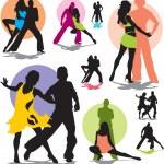 Set vector dance couple silhouettes — Stock Vector
