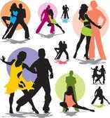 Set vector siluetas de pareja de baile — Vector de stock