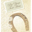 Romantic card with horseshoe — Image vectorielle