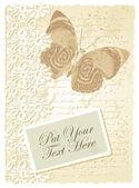 Carte romantique avec papillon — Vecteur