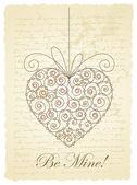 Carte romantique avec coeur — Vecteur