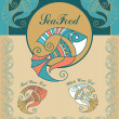 Set vintage seafood menu elements — Imagen vectorial