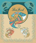Set de menú mariscos vintage — Vector de stock