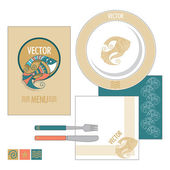 Vector restaurant set with fish — Stock Vector
