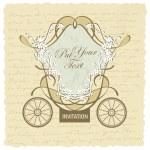 Vector wedding carriage invitation design — Stock Vector