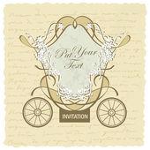 結婚式のキャリッジの招待デザイン ベクトル — ストックベクタ