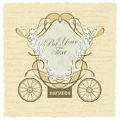 Vector wedding carriage invitation design — Vecteur