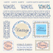 Vector de stock : Set floral vintage borders and frames