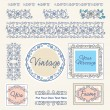 Set floral vintage borders and frames — Stock vektor