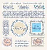 Définir les frontières vintage florales et cadres — Vecteur