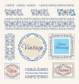 Fije las fronteras vintage florales y marcos — Vector de stock