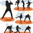 Set vector baseball silhouettes — Stock Vector