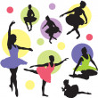 Set vector ballet silhouettes - Stock Vector