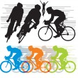 Set vector silhouettes cyclists — Stock Vector