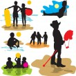 Set vector silhouettes childhood — Stock Vector