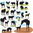 Set vector silhouettes farm animals — Stock Vector