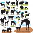 Set vector silhouettes farm animals — Stock Vector