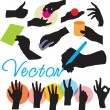 Set vector hands silhouettes — Stock vektor