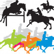 Set horse rider vector silhouettes - Stock Vector