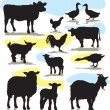 Set vector farm animals silhouettes — Stock Vector