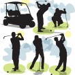 Stockvector : Set vector Golf silhouettes