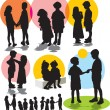 Set vector silhouettes with children — Stok Vektör