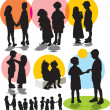Vector de stock : Set vector silhouettes with children