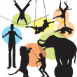 Set vector circus silhouettes — Stock Vector #12852130