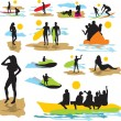 图库矢量图片: Set vector silhouettes on beach