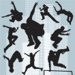 图库矢量图片: Set vector silhouettes parkour