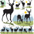 Set vector deer silhouettes — Stock vektor