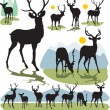 图库矢量图片: Set vector deer silhouettes