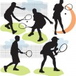 Stock Vector: Set vector tennis silhouettes