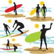 Set vector surfers silhouettes — Stock Vector