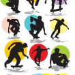 Vector de stock : Set vector silhouettes of skaters