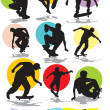 Stock Vector: Set vector silhouettes of skaters