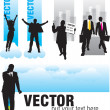 Set banners with silhouettes of businessmen — Stock Vector