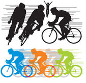 Set vector silhouettes cyclists — Cтоковый вектор